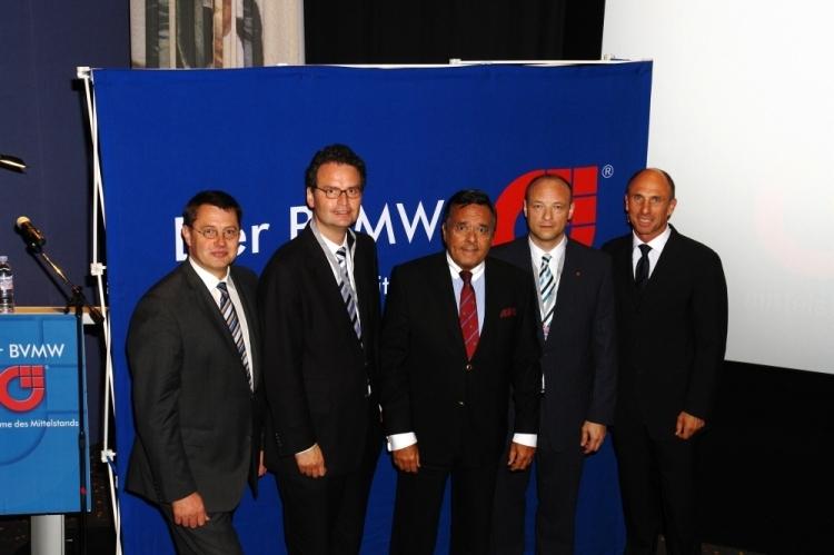 Bernd Adamascheck (Bundesgeschäftsführer BVMW), Dr. Günter Krings, Mario Ohoven (Präsident BVMW), Jörg Löhr (Referent), Stefan A. Wagemanns (Kreisgeschäftsführer BVMW Mönchengladbach), Foto: T. Kolbe