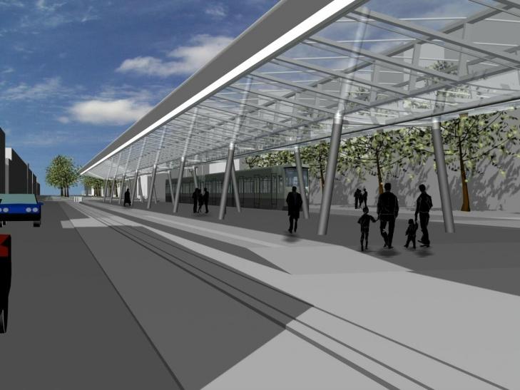 Die moderne Glasüberdachung des 120 Meter langen  barrierefreien Mittelbahnsteigs soll auch städtebaulich Akzente in der zentralen Innenstadt setzen.  (Grafik: Stadt Krefeld)