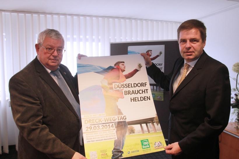 Pro Düsseldorf-Vorsitzender Ingo Lentz stellt mit PSD-Bank-Vostand August-Wilhelm Albert das neue Plakat vor (xity-Foto: P. Basarir)
