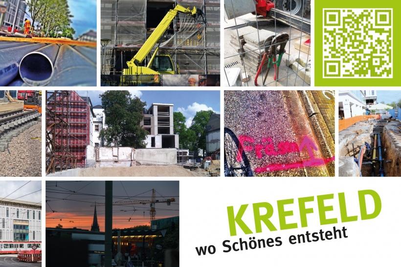 Zehn Baustellen-Fotos werden auf Postkarte gedruckt. (Foto: Stadt Krefeld)