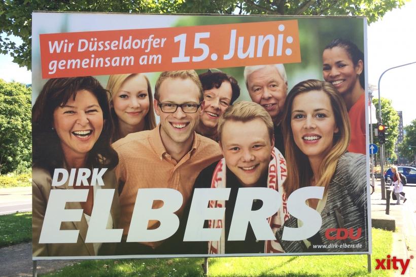 """Unter dem Motto """"Wir Düsseldorfer für Dirk Elbers"""" zieren die Wahlplakate der CDU für die Stichwahl die Stadt. (xity-Foto: D.Creutz)"""