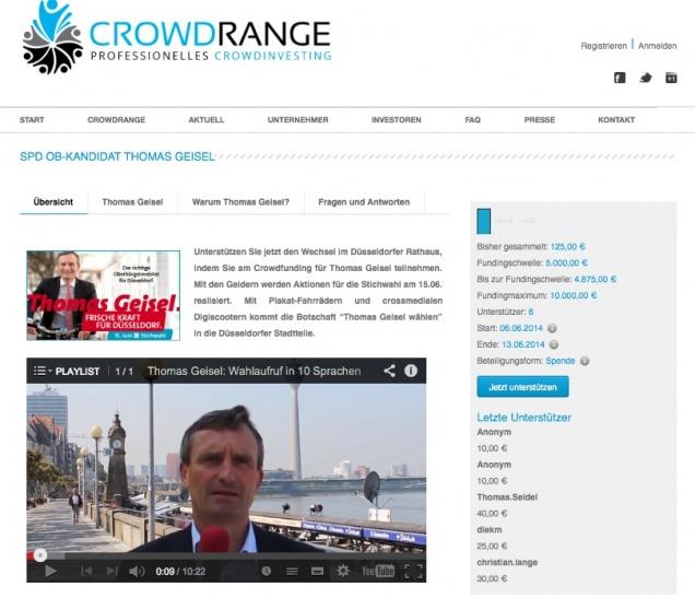 """""""Crowdfunding Aktion von Thomas Geisel."""" (Foto: Bildschirmfoto von Crowdrange.de)"""