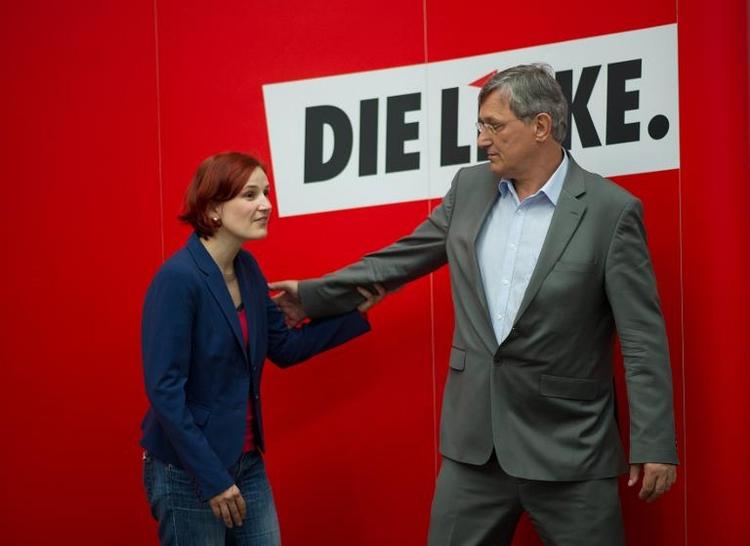 Gabriel und Linken-Chefs trafen sich unter sechs Augen (© 2014 AFP)