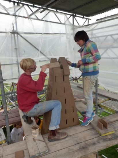 Letzte Arbeiten an der Kuppel (Foto: Hetjens Museum)