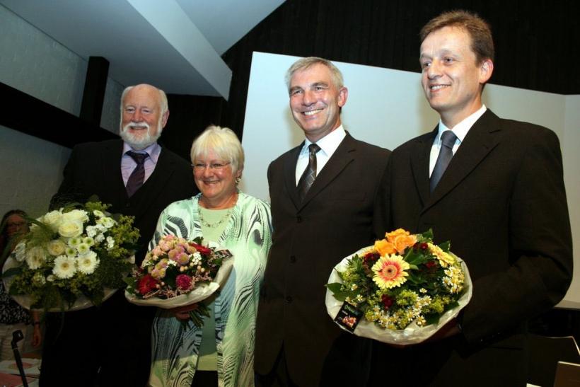 """""""Bürgermeister Klaus Pesch (2. von rechts) mit seinen Vertretern (v.l.) Wolfgang Diedrich, Anne Korzonnek und Rainer Vogt."""" (Foto: Büro des Bürgermeisters der Stadt Ratingen)"""