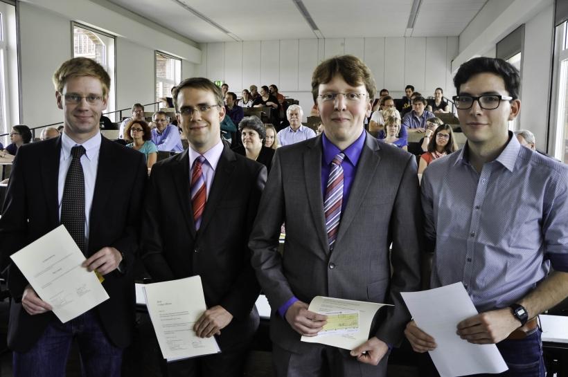 Die Preisträger von links: Max Conrad, Volker Bliem, Florian Stephan Merkel und Stefan Bianga. (Foto: Dr. Christian Sonntag)