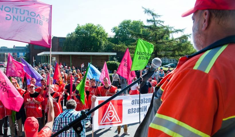 Warnstreik in der Stahlindustrie in Krefeld. (Foto: Ralf Köpke)