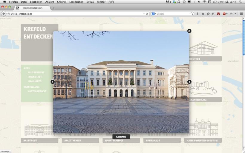 Unter www.krefeld-entdecken.de finden sich auf rund 50 Kacheln verteilt historische und aktuelle Fotos, Informationen sowie Textsequenzen über prägende Bauwerke der Samt- und Seidenstadt. (Foto: Knut Habicht)
