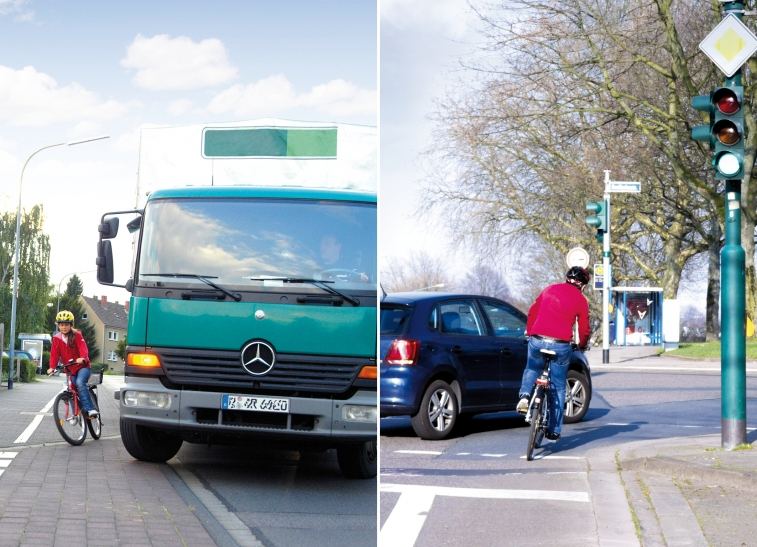 Toter Winkel: Radfahrer in Gefahr (Foto: Gerhard Zerbes/DVR)