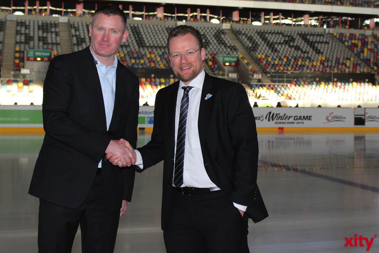 (v.l.) Die beiden Trainer der Clubs, Niklas Sundblad und Christof Kreutzer, freuen sich auf das Derby. (xity-Foto:A.Obreiter)