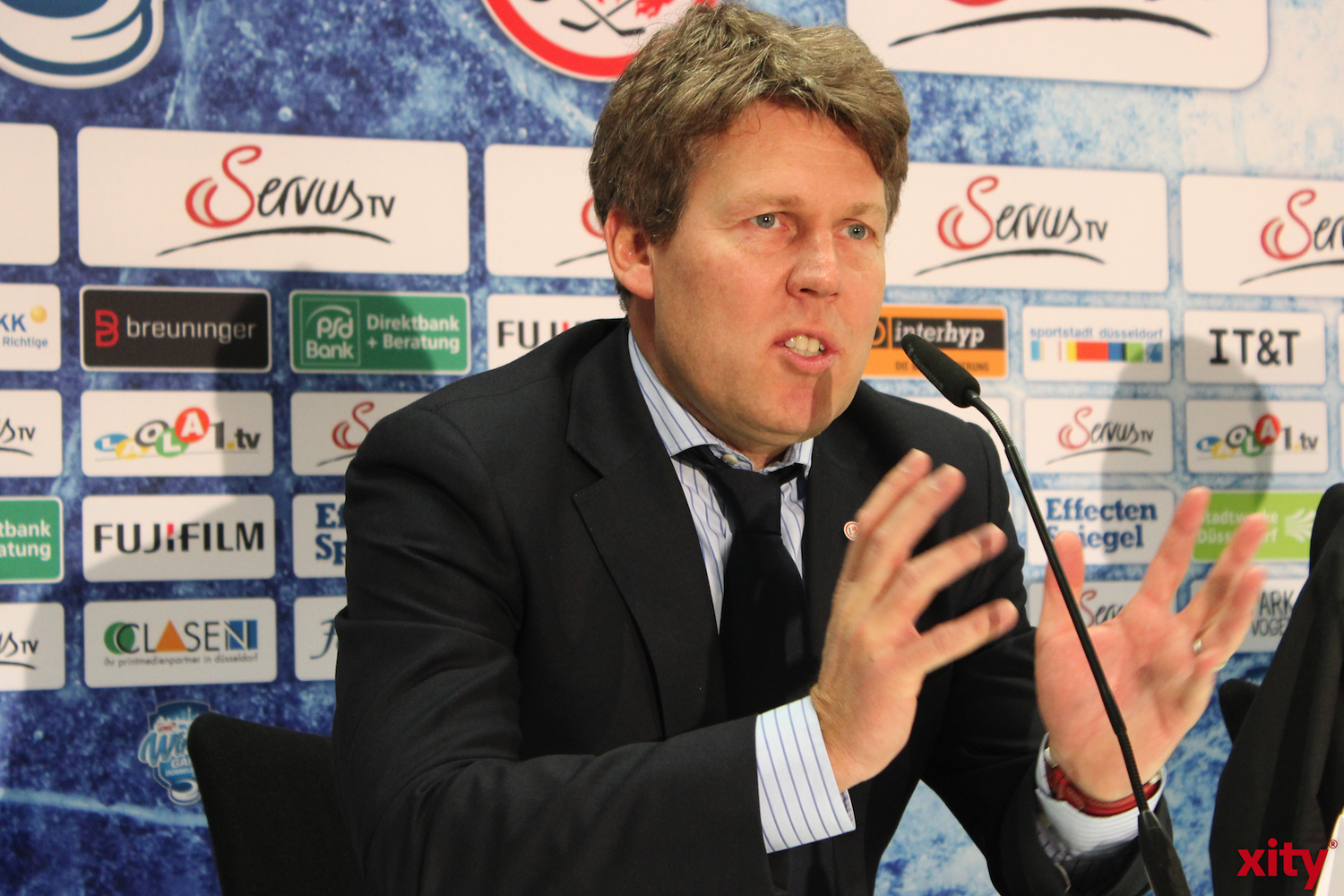 Gernot Tripcke at the press conferenceto to the 2015 DEL wintergame. (xity-photo:A.Obreiter)