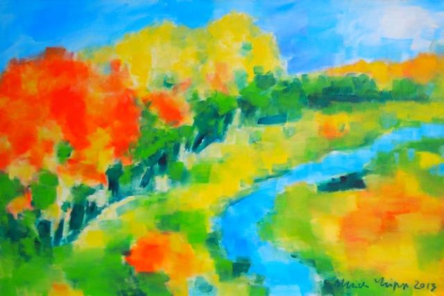 Farbenfrohe Ausstellung mit floralen Gemälden (Foto: CONZEN)