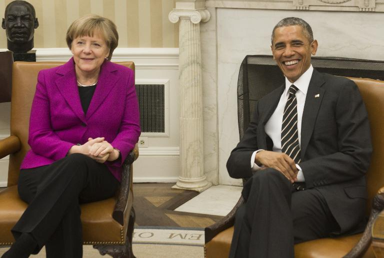 Obama und Merkel beraten erneut über Ukraine-Krise (© 2015 AFP)