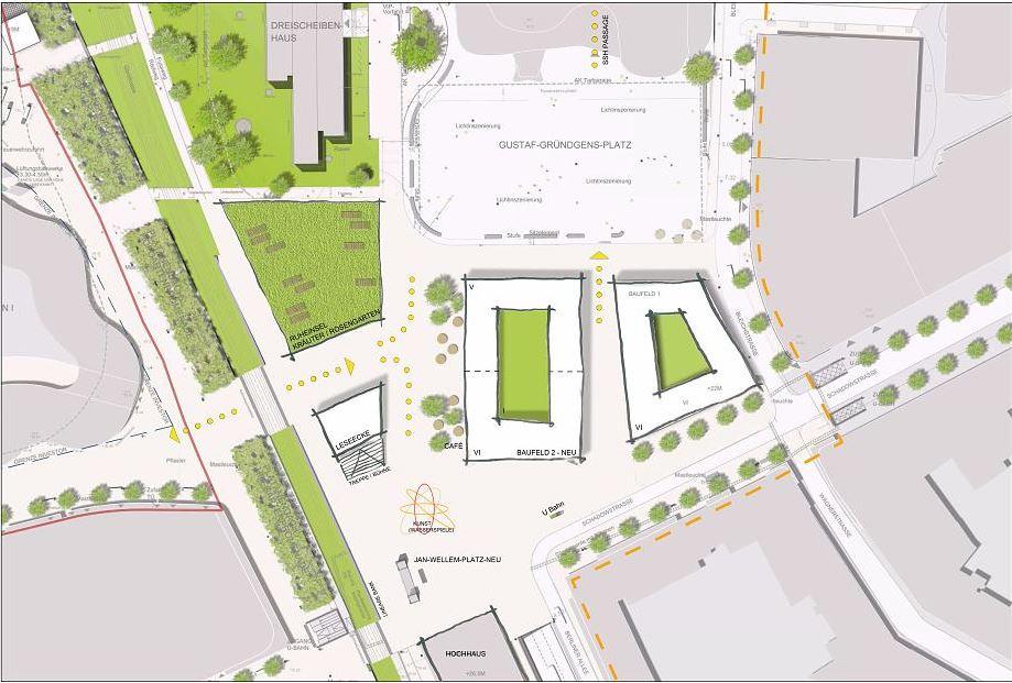 Bisherige Baupläne am Gustaf-Gründgens-Platz (Foto: Stadt Düsseldorf)