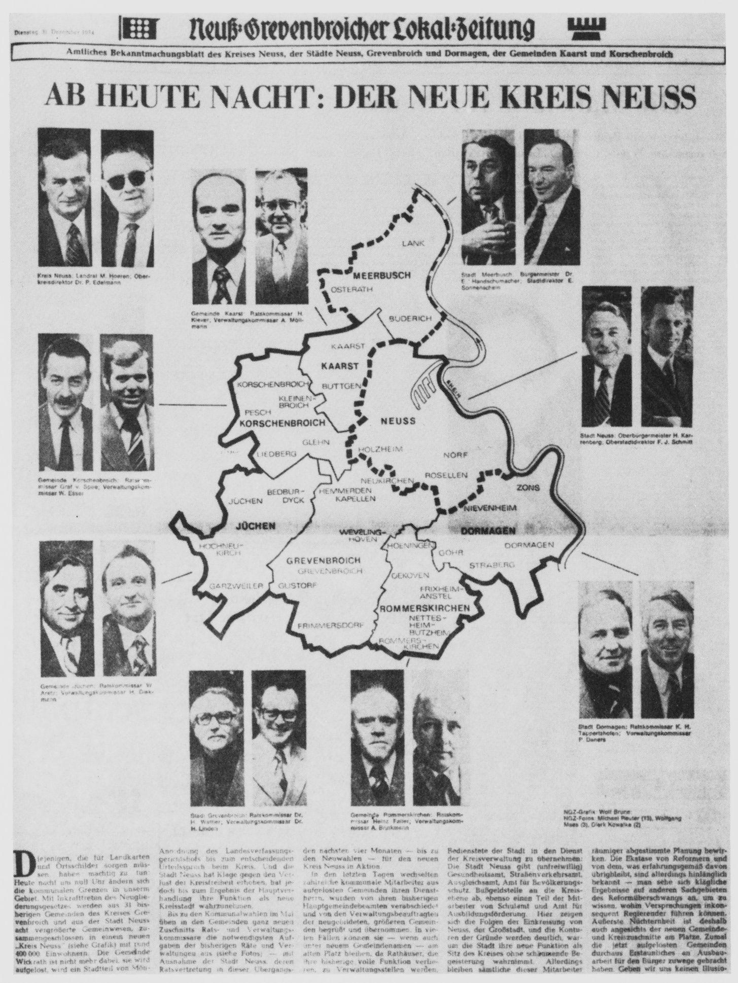 """""""Ab heute Nacht: Der neue Kreis Neuss"""": So betitelte die Neuß-Grevenbroicher Zeitung ihren Beitrag über die Folgen der Kommunalreform vor 40 Jahren.  (Foto:Repro: NGZ )"""