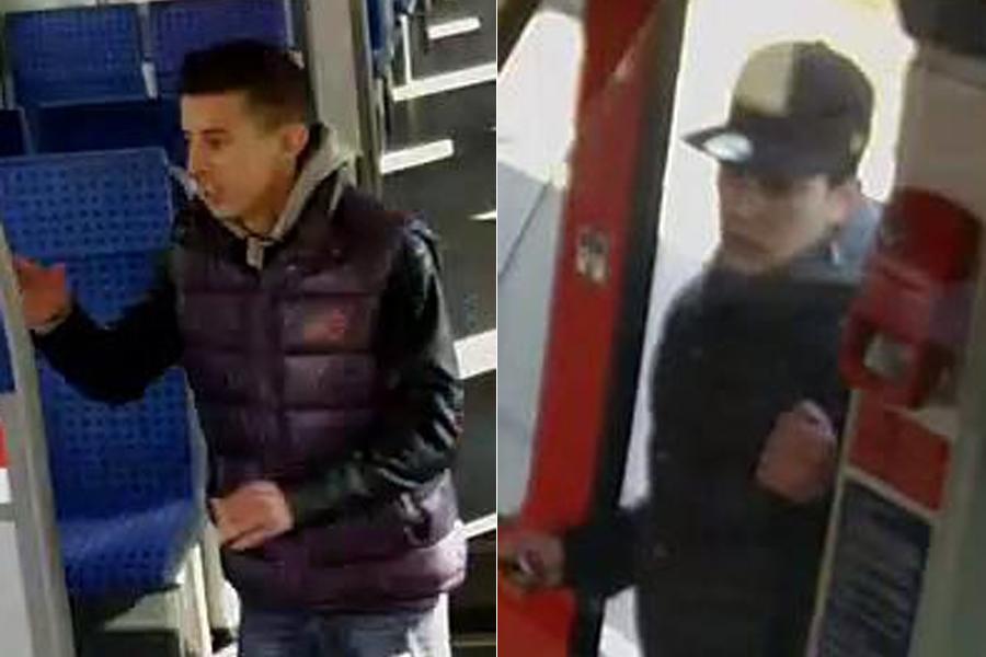 Nach einem versuchten Raub in der S11 am Ostersonntag fahndet die Polizei mit Bildern der Überwachungskamera nach den beiden unbekannten Tätern (Foto: xity)