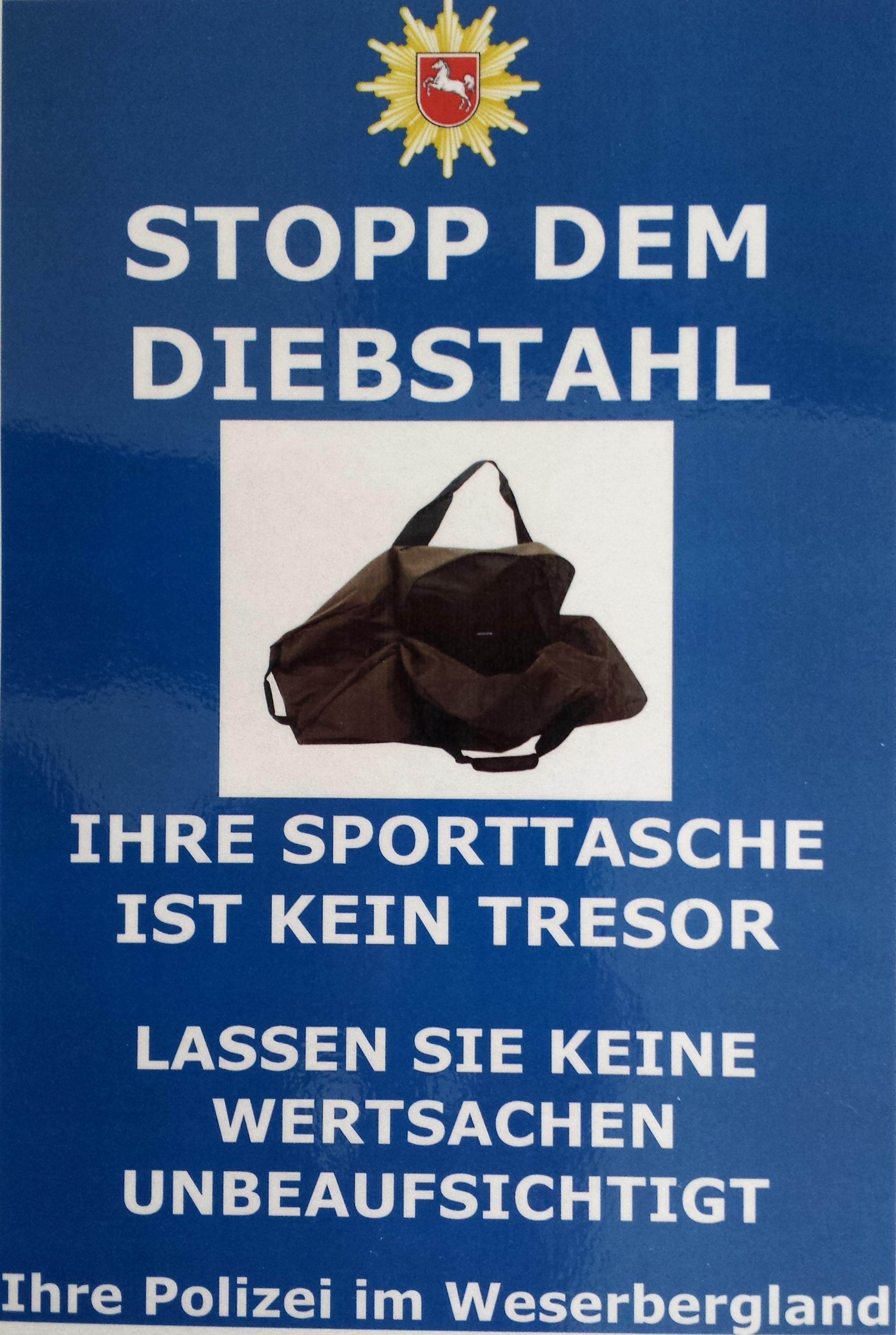"""Das Motto: """"STOPP DEM DIEBSTAHL - DIE SPORTTASCHE IST KEIN TRESOR""""(Foto: OTS)"""