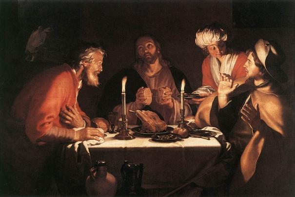 Die beiden Jünger erkennen Jesus beim Brechen des Brotes in Emmaus (Foto: Abraham Bloemaert)