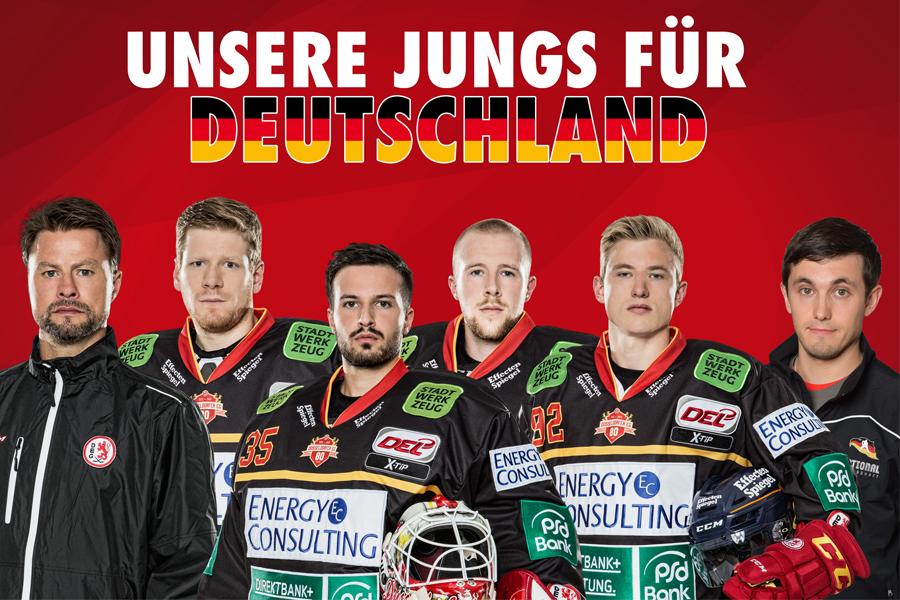 Sechs Akteure der Düsseldorfer EG bei der deutschen Nationalmannschaft (Foto: Düsseldorfer EG)