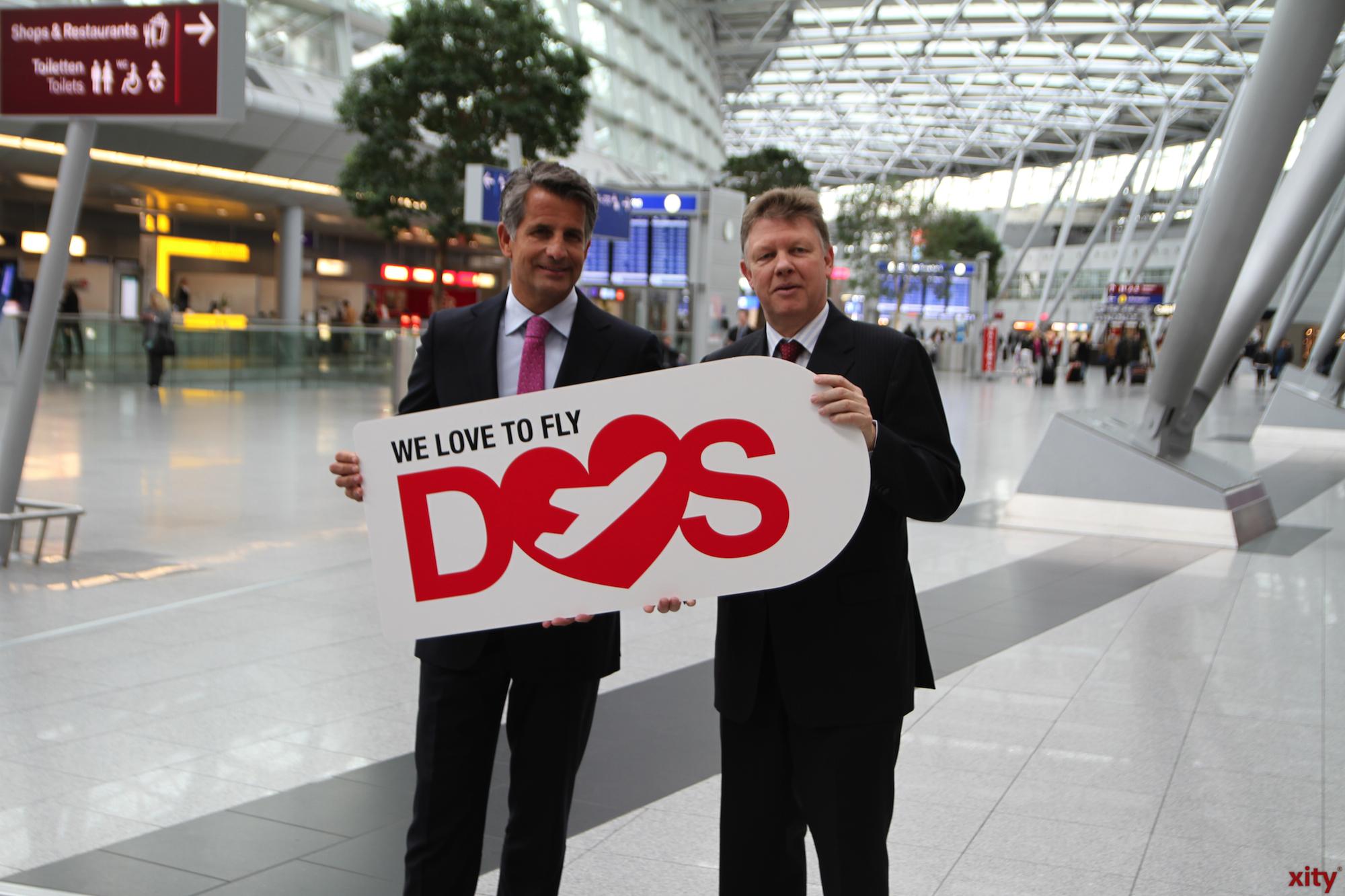 Otto Lindner (l) und Ludger Dohm, Geschäftsführer des Düsseldorfer Flughafens (Foto: xity)