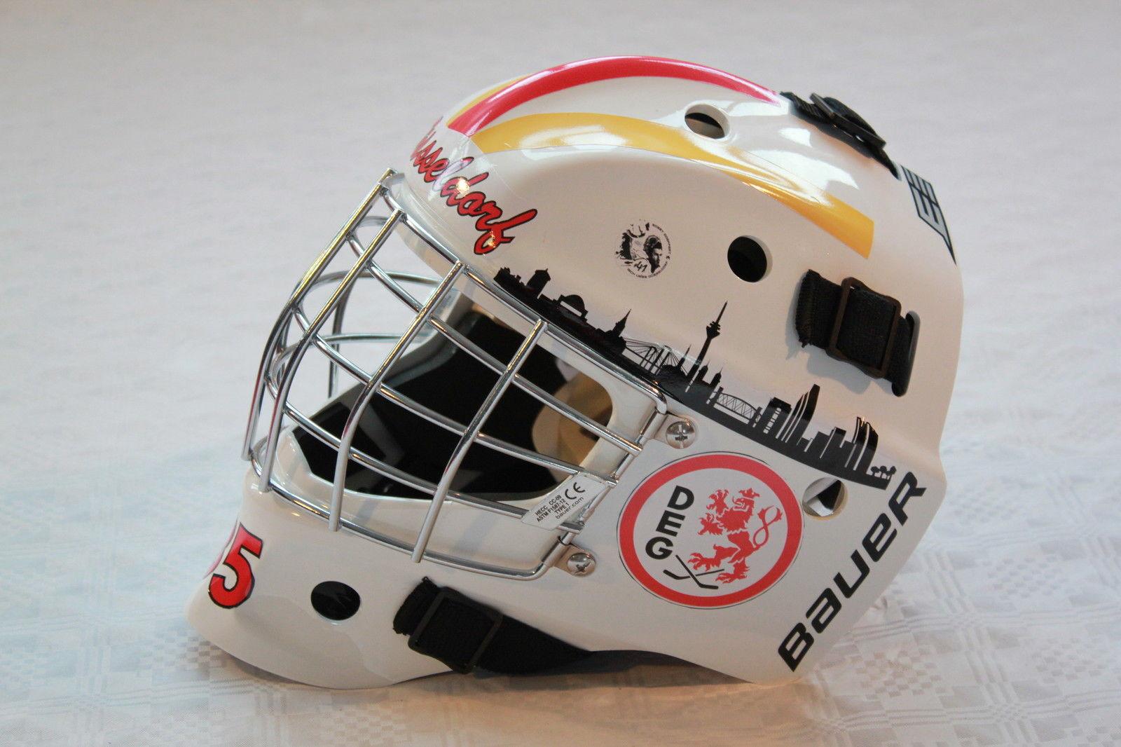 Die Goalies aller Clubs haben individuelle Masken kreiert, die zugunsten der DKMS versteigert werden (Foto: Düsseldorfer EG)