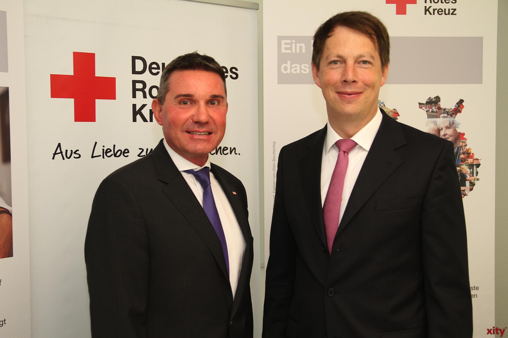 Stefan Fischer, Vorstand des DRK-Düsseldorf, und Christian Engler, Geschäftsführer der Sana Kliniken (Foto: xity)