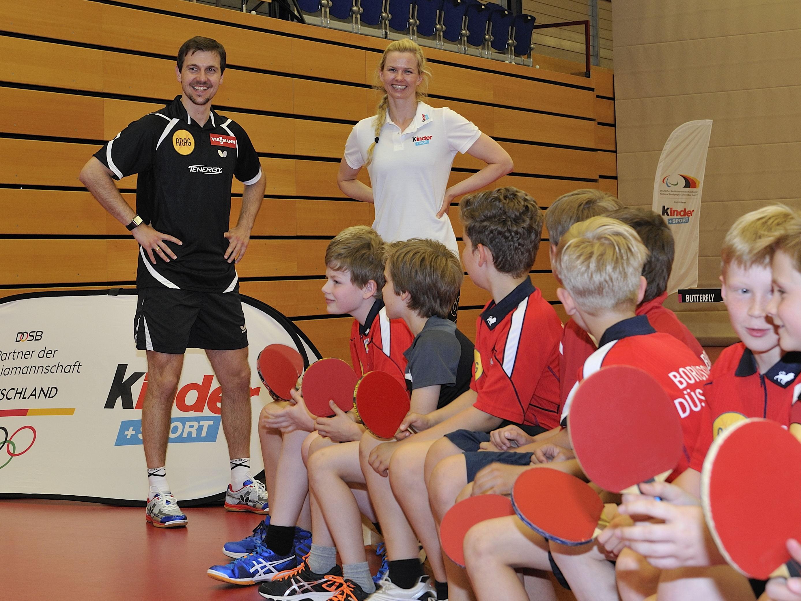 """23 Kinder durften beim """"kinder+Sport""""-Nachmittag mit Timo Boll spielen (Foto: majo-Foto)"""