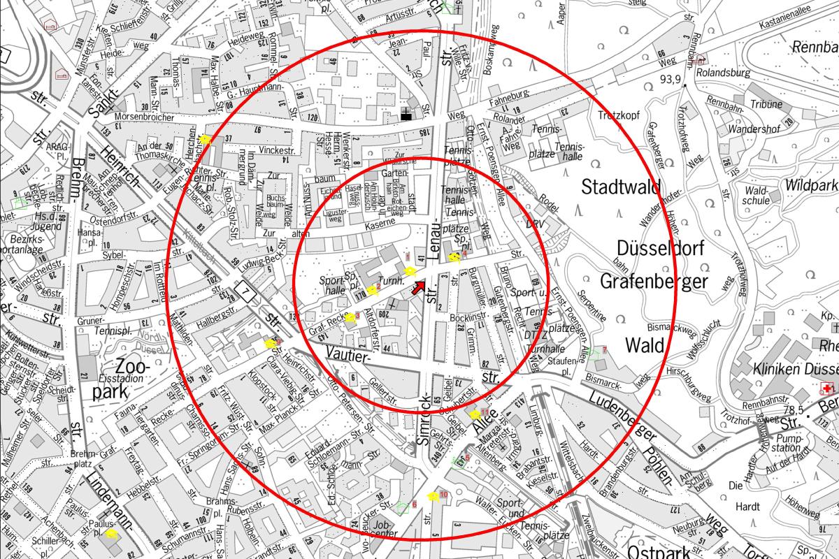 In einem Radius von 500 Metern (Gefahrenbereich A) müssen um die Fundstelle rund 3.750 Menschen ihre Wohnungen verlassen (Foto: Stadt Düsseldorf)