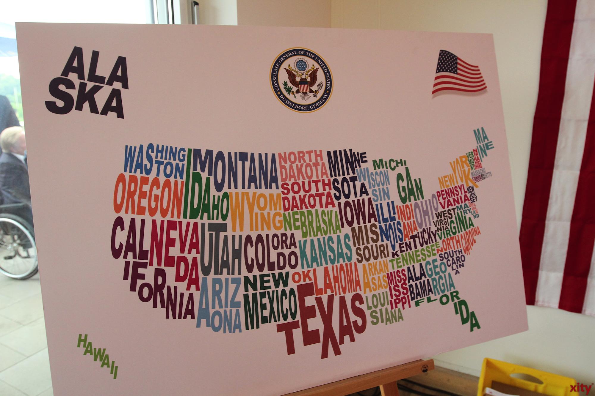 Eine Karte der USA, mit den Namen der einzelnen Bundesstaaten (Foto: xity)